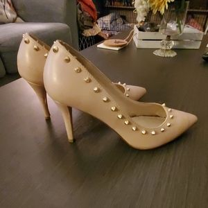 Light pink with gold stud heels